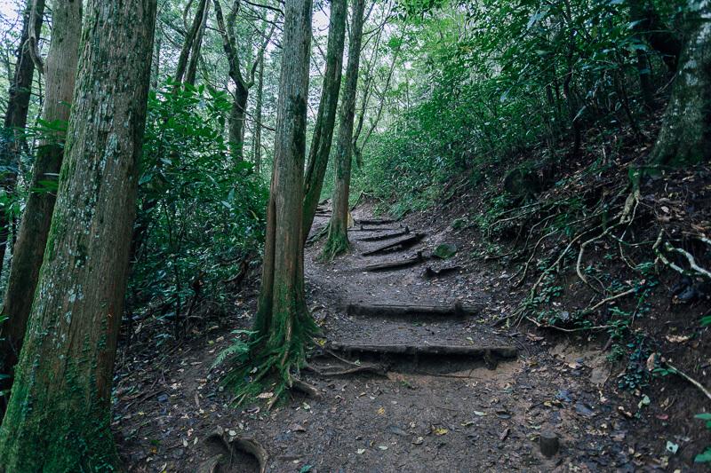 筑波山登山 おたつ石コース 足元注意