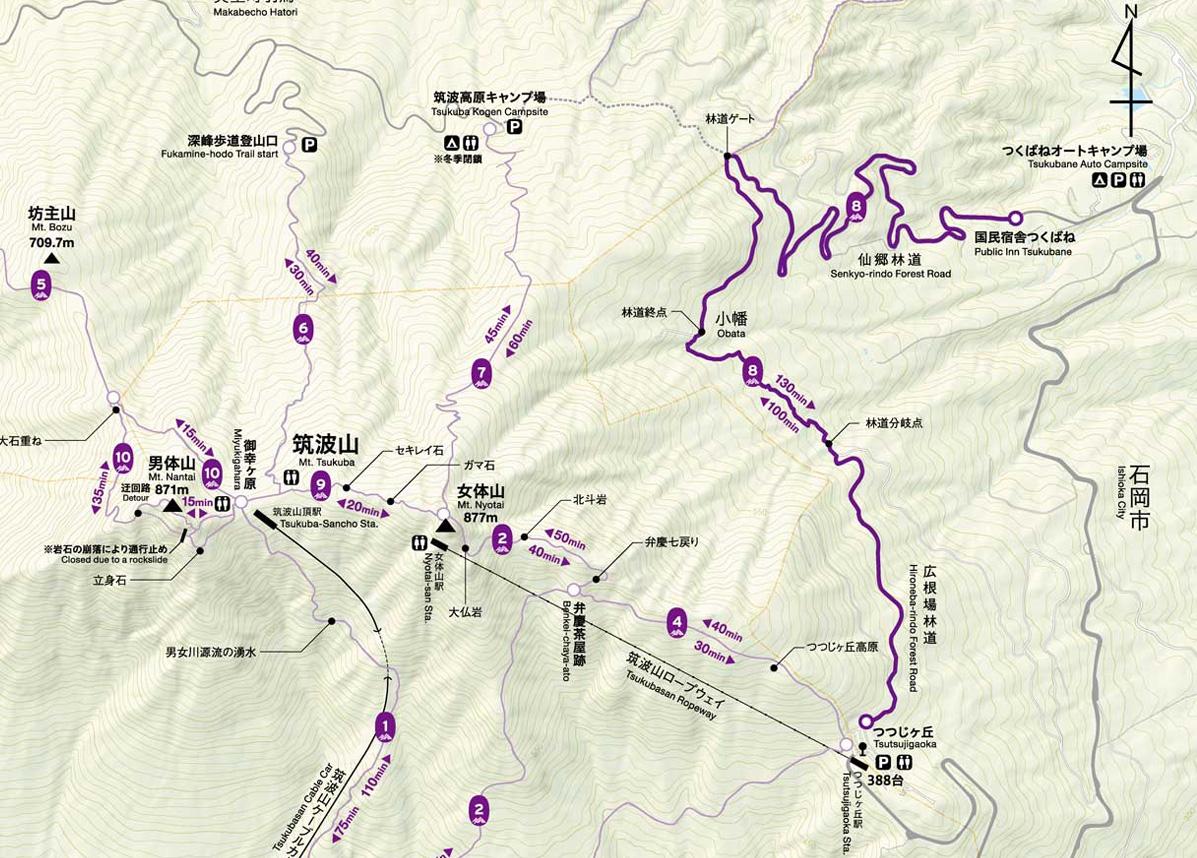 筑波山登山コースマップ(東筑波ハイキングコース)