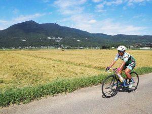 筑波山のふもとの田んぼ道を自転車で走る