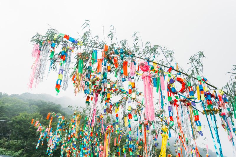 筑波山 御幸ヶ原で行われた筑波山頂七夕祭りの七夕飾り