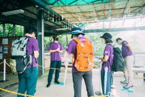 筑波山ケーブルカーの乗り場にて集合